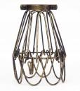 Industrial Vintage Teardrop Cage with Hook Black Gold L